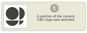 A portion of the current CBC logo was selected